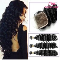 Wholesale 6A Brazilian Peruvian Malaysian Indian Deep Wave Virgin Hair Bundles Bundle Deep Wave Virgin Hair Lace Top Closure