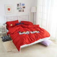 Wholesale Angry Birds Printed Egyptian Cotton Queen Size Bedding Set Duvet Cover Set Red Grey