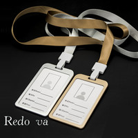badge holder alloy - Metal Alloy ID Badge Holder Accessories Credit Card Bus Work cards Tag Lanyard Papelaria Stationery School Office Supplies