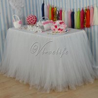 Wholesale 100cm x cm Ivory Tulle Tutu Table Skirt Tulle Table Skirting Tableware Wedding Birthday Baby Shower Chrismas Party Table Decoration