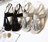 tassel - Fashion New High Heel Sandals Weave Tassel Thick With Sandals Roman Gladiator Sandals Womens Summer Shoes