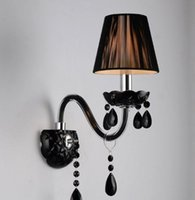 Wholesale Arandela Black Crystal Modern Led Wall Light Lamp with Fabric Shade For Bedroom Home Wall Sconce