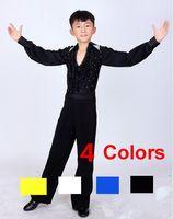 Wholesale New Diamond Rhinestone Ruffly Blue White Black Ballroom Dance Boy Stage Costumes Modern Latin Boys Dance Costumetoycvcity
