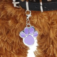 Wholesale New colors Pet Jewelry Cat dog collar pendant tags Pawprint Necklace Collar Puppy identity collar accessory drop shipping