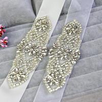 Wholesale 2016 High Quality Sparkly Bridal Dress Decoration belts Supplies Rhinestone Crystal Wedding Accessory Organza Sashes Satin Sashes for Bridal