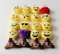 Wholesale 50 QQ emoji plush pendant Key Chains Emoji Smiley Emotion Yellow QQ Expression Stuffed Plush doll toy for Mobile bag pendant