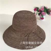 Wholesale The edge of the CM superfine Hand Crocheted Raffia large side ladies Summer Beach Hat Visor