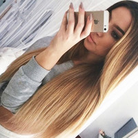Cheap Brazilian Ombre Silky Straight Glueless Full Lace Human Hair Wigs 1B 27 Honey Blonde Two Tone Lace Front Wigs 130 Density Bleached Knots