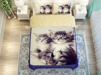 animals maine - Cute cat Maine Coon print bed duvet cover pillow cases twin full queen king comforter bedding sets bedspreads animal