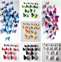 Wholesale 12pcs D Butterfly Sticker Art Design Decal Wall Stickers Home Decor