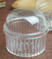 Wholesale Plastic Round Dome Lid Spoon Tiramisu Muffin Cake Cups Clear Home DIY Dessert Tools