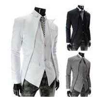 Wholesale Men Suits new men s asymmetric design fake two piece leisure suit boys suits wedding suits