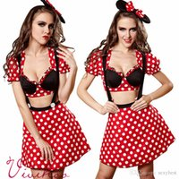 adult prom dress - Sexy costumes for women mickey mouse Cosplay Polka Dot suspender skirt Sexy Red minni Mouse prom dresses sexy Halloween costumes for adults