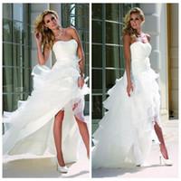 beach curves - Ladybird Wedding Dresses Curved Neckline High Low White Organza Satin Backless Sleeveless Cascading Ruffles Wedding Gowns