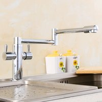 Wholesale Polished Chrome Faucet Brass Folding Basin Hot and Cold Water Tap for Bathroom Kitchen Degrees Rotation