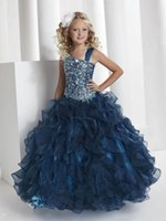 Wholesale Princess Spaghetti Straps Ball Gown Glitz Pageant Dresses crystal organza stack up ruffles dark navy pageant little Girl Dress