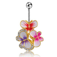 Wholesale Epoxy Enamelled Butterflys Belly Button Rings Sexy Body Navel Piercing Jewelry Bars