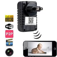 Wholesale Wifi AC Power Adapter Plug Spy Camera HD P Spy Cam Motion Detection Wireless Secret Spy Cameras M Pixels Degree View Angle