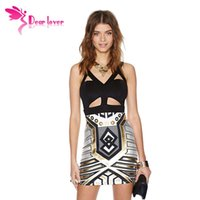 metallic mini dress - vestidos femininos curtos roupas femininas de festa Stylish Cutout Bodycon Club Party Dress with Metallic Print LC21810