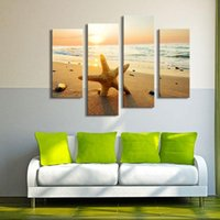 beach framed art - 4 Picture Combination Picture Sensations Framed Huge Summer Starfish Beach Giclee Canvas Oil Painting Art For Home Decoration