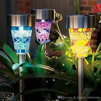 Wholesale 2016 Fashion Solar Mosaic Garden Light LED Lamp Stainless Steel Spot Light Outdoor Lawn Landscape Lighting