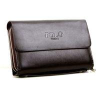 artificial leather wallet - Men s handbags big wallet high quality Artificial leather zipper big size business bag briefcase card cigarette key long wallet