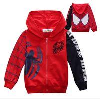 Wholesale Boys Autumn winter jackets spiderman baby boy cartoon hoodies boy s sweatshirts children zipper hooded jumpers kids casual clothing colour