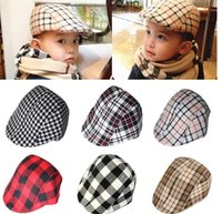 beret cap wholesale - New Fashion Baby Boy Children Kids Beret Ball Cap Casual Hats Cotton Blend Classic Plaid Pattern Cool Hat PX177
