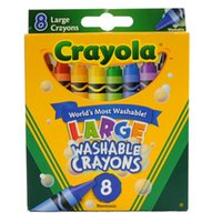 Wholesale 8 colors Kids Crayola Large Washable Wax Crayons Erased Drawing Painting pen for Children Fashion Christmas Gifts for Children