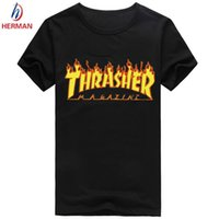 asian clothing brands - Asian Size Skateboard Brand Clothing Thrasher Thin Tshirt Polyester Short Sleeve T shirt Men and Women Hip Hop Rap Swag T shirt PY062