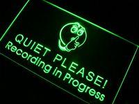 Acheter Signe d'enregistrement-M096 Enregistrement en cours Quiet Please LED Neon Sign Signes de liqueur de neon bon marché