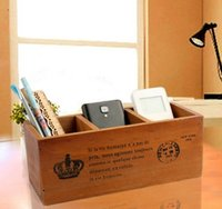 Wholesale three colors for choice ZAKKA and Vintage desk use wooden storge boxes and bins for remote controller