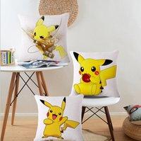 Wholesale Poke Pillow Covers Cartoon Cushion Covers Pikachu Pillow Case Cover Throw Cushion Cover Pillowcase Cotton and linen Pillow Case LJJK536