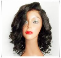 Wholesale 7A unprocessed brazilian glueless full lace short human hair wigs with bangs short wavy bob lace front wig for black women