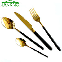 Wholesale JANKNG K Gold Cutlery Set Stainless Steel Flatware Set Black Handle Tableware Dinner Spoon Polishing Dinnerware Set For