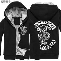 winter padded jacket - Thickening cotton padded jacket Sons of Anarchy SOA winter warm Hoodie Flannel Coats Cashmere Sweatshirts men and women hoodies