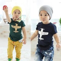 airplane baby clothes - 2016 Boy summer cotton T shirts Baby boy girl cute airplane print Tops short sleeve clothes children soft cotton blue green shirt