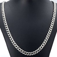 Wholesale Free Shiping New Arrival Men s MM quot quot quot Silver Stainless Steel Necklace Cuban Curb Link Chain Hot