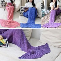 wool blankets - 16 Colors Women Children Knitting Handmade Air conditioning Plush Mermaid Tail Shape Sofa Blanket
