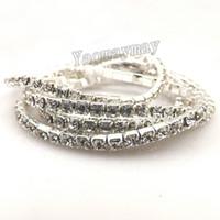 Wholesale Fashion stretch crystal bangles for wedding cheap transparent rhinestone bangle