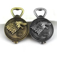 Wholesale Hot Game of Thrones Bottle Opener Keychain Wine Beer Openers Stark Badge Retro Bronze Color Party Supplies