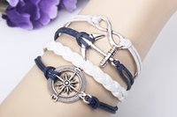 anchor beaded jewelry - Seaman Sailor Anchors Lucky Cool Adjustable Leather Bracelet Bangle Charm Punk Fashion Jewelry Bracelet jewelry QNW8023