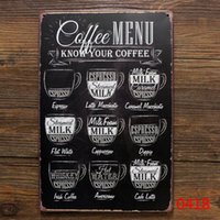 Wholesale Rereo Coffee metal tin sign cafe wall decor Vintage metal painting coffee menu poster art plaque coffee decoration