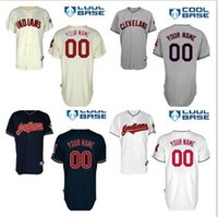 Wholesale Stitched Custom Cleveland Indians Jerseys Personalized Indians On field home Baseball away Jersey Customized navy blue white gray cream