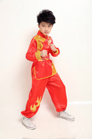 Wholesale UNISEX kids kung fu martial arts performance suits wushu clothes Embroidery dragon tai chi uniforms clothing sets