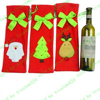 Wholesale Newest Christmas Decorations Gift Bags Christmas Ornaments Restaurant Wine Cover Ornament Bag Santa Claus Candy Bags