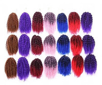 Wholesale 3pcs Ombre Pink Purple Marley Braiding Synthetic Afro Kinky Curly Twist Crochet Hair Extension Marlibob Braiding Hair