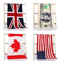 Wholesale 100 Cotton superior quality bath towels beach towel creative flag dollar Pattern Printed DHL free