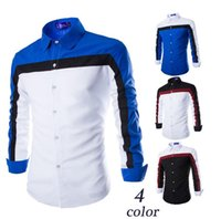 Wholesale The new men s fashion urban youth in Europe and America men s casual personality three fresh spell color long sleeved shirt