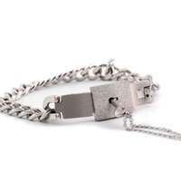 Wholesale 1 set Couple Titanium Lock Steel Bangle Bracelet and Key Pendant Necklace Sets Fashionable jewelry good lovers gifts
